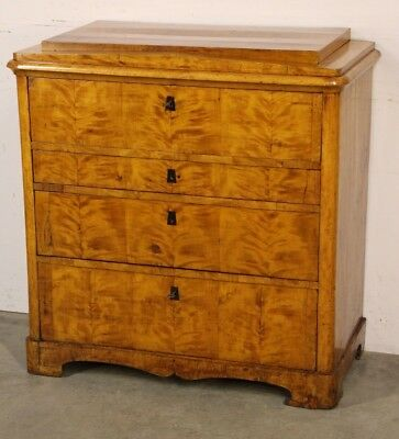 Antique Swedish blonde birch chest drawers writing bureau desk Biedermeier 1820