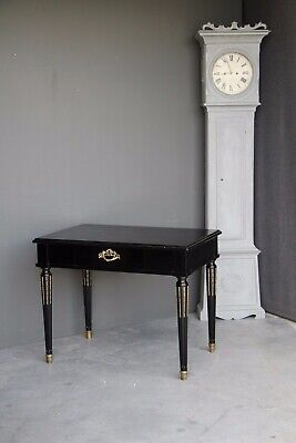 French antique Louis XVI writing table 1 drawer desk ormolu piano black Napoleon