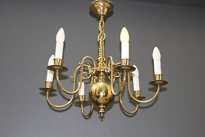 Antique Dutch or French Provincial 6 arm chandelier polished brass early 1900's