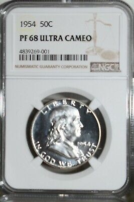 1954 Franklin Proof Half Dollar NGC PF-68 Ultra Cameo PR-68 DCAM