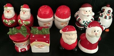 5 SETS OF CERAMIC CHRISTMAS SALT & PEPPER SHAKERS SANTA CLAUS all in EXC