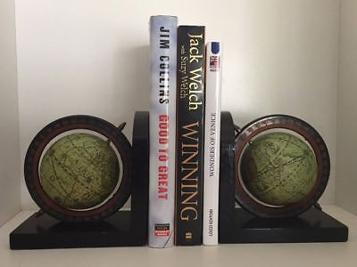 PR. RETRO VINTAGE SPINNING GLOBE OLD WORLD MAP WOOD WOODEN BOOKENDS BOOK ENDS in