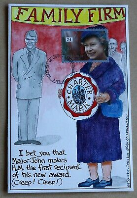 Happy & Glorious 1992 Rare Hand Painted Family Firm Queen John Major Comic Fdc