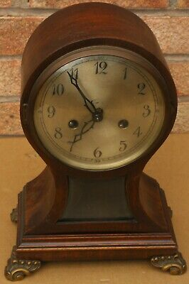 Quality Old Wooden Balloon Shaped Mantel Clock To Restore