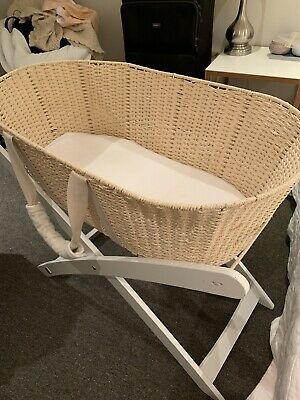 Natures Purist Moses Basket - White Wooden Stand - In Great Condition.