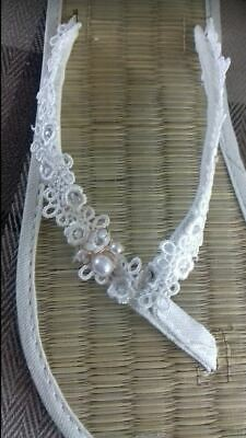 e432bb265 Ladies Straw Flip Flops Ivory Lace with Pearl   Enamel Flower and Sparkles