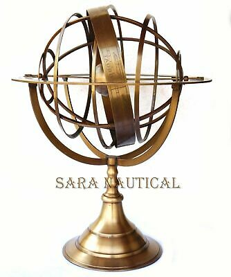Large Fully Brass Armillary Sphere Engraved Astrolabe World Globes Decor 18""