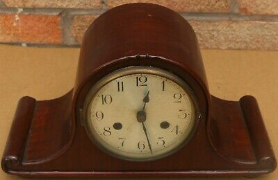 Lovely Looking Tidy & Quality Wooden Cased Striking German Mantel Clock