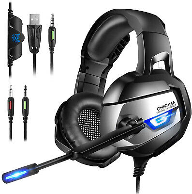 Gaming Headset for PC, Xbox one PS4 Controller with Mic LED Light Surround and