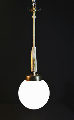 Vintage 1940s Original Art Deco Opaline glass school house Globe lantern light