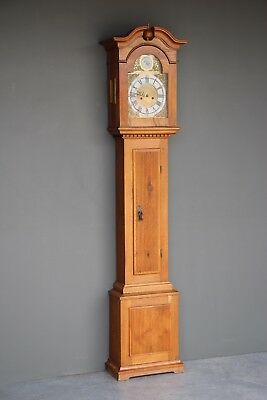 Antique solid oak Swedish Gustavian long case grandfather clock  bronze silvered