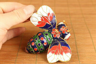 chinese old cloisonne hand carved bee statue netsuke collectable ornament