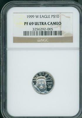 1999-W $10 PLATINUM EAGLE STATUE OF LIBERTY 1/10 Oz. NGC PR69 PROOF PF69 !!!