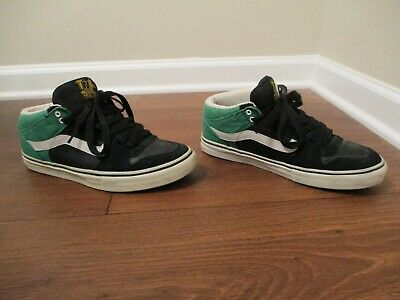 5f7fc658741e4f Used Worn Size 9.5 Vans TNT II Mid Skateboard Shoes Black Green White