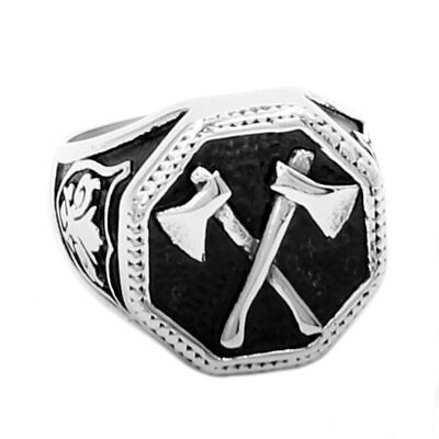 Ring For Men 2 Ax Viking Nordic Celtic Pattern Knot Stainless Steel Punk Biker