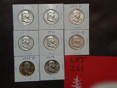 8- FRANKLIN Half Dollars - ALL DIFFERENT YEARS, YOUR CHOICE OF 6 LOTS. (B-26-2)