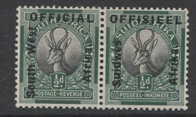 SOUTH WEST AFRICA - 1927 OFFICIAL ½d PAIR MINT(MLH) SG. O1. (REF.A3)