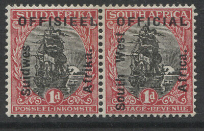 SOUTH WEST AFRICA - 1927 OFFICIAL 1d PAIR MINT(MH) SG. O2. (REF.A3)