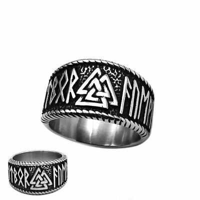 Ring For Men Viking Ax Scandinavian Celtic Pattern Knot Stainless Steel Punk