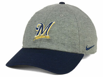 da979c2496ef5 Milwaukee Brewers Nike MLB 2 Tone Heather Cap Hat Adjustable Strapback  Heritage