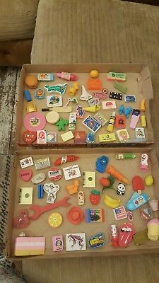 Large Job Lot of 88 Vintage Retro Rubbers Erasers Novelty 70's 80's