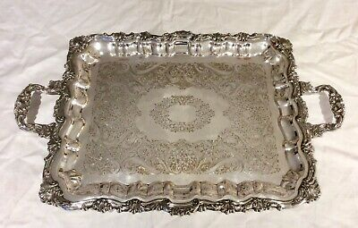 """Superb 19th C. 25"""" Repousse Silver On Copper Footed Butler Serving Tray 3.9 Kg+"""