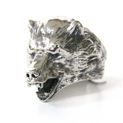 Ring For Men Grizzly Bear Open Mouth Animals Highest Quality Stainless Steel