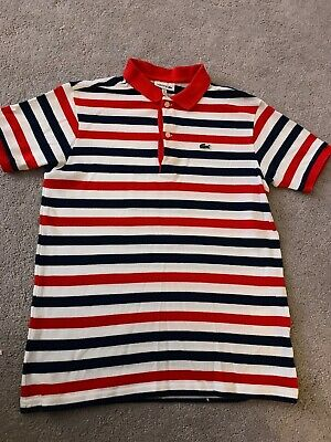dbad39f16 boys age 12 LACOSTE polo t shirt top striped Red   navy collared t shirt VGC