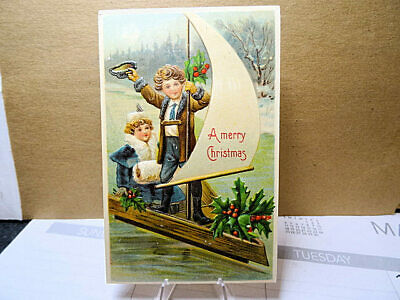 1907 Embossed Postcard Merry Christmas Children Sailing With Holly