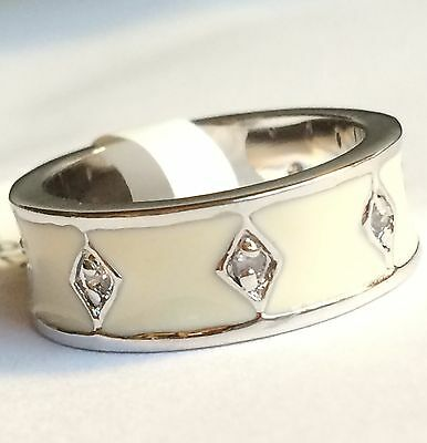 Silver White Enamel Art Deco Ring Band Rhodium Plated Vintage Style Size 5 9 10