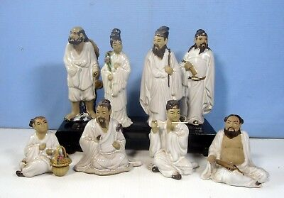 Antique Chinese Taoist Porcelain Deities 8 Immortals Wood Stand circa 1960s 8