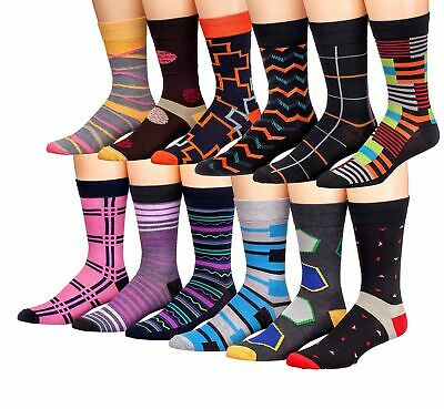 James Fiallo Mens 12 Pack Colorful Patterned Dress Socks M5800,Fits shoe size..