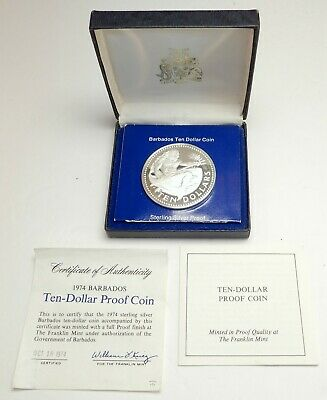 1974 BARBADOS Proof HUGE 4.2cm Silver 10 Dollars Coin w NEPTUNE Gift Box i76387