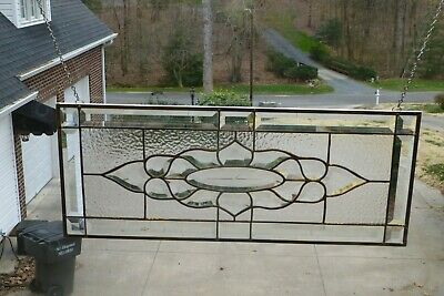 Beautiful All Clear Beveled Stained glass Window Panel w/ Engraved Star