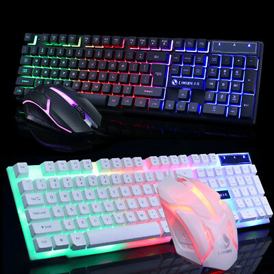 T6 Gaming Keyboard and Mouse Set Rainbow Backlight Usb Ergonomic for PC Laptop.