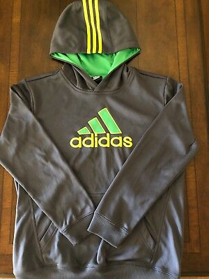 3c354b48d90 Adidas Mens pullover Hoodie Three Stripe Size Youth L Neon Green No tags  Brand