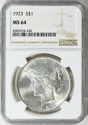 1923 Peace Dollar Ngc Ms 64 Beautiful Silver Coin Bu Mint Condition