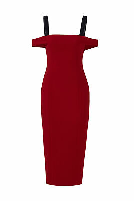 38d2fa495be Cinq a Sept Red Women s Size 6 Square Neck Contrast Sheath Dress  465-  050