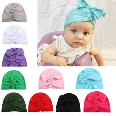 Bowknot Turban Baby Hats Headwrap Flower Headband Beanie Cap Elastic Hairbands