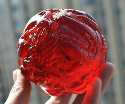 Tibetan Old Antique Cherry Dragon Amber Chinese Zodiac Carved Statue Ball Tibet