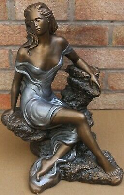 Large Very Detailed Signed Figure Of Beautiful Lady Sitting On A Rock