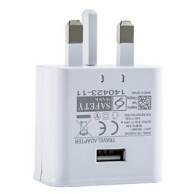 White USB Wall Charger 3PIN UK Plug Mains AC Power 5V 2A Adapter for All Phones