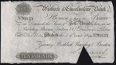 1894 WISBECH & LINCOLNSHIRE BANK £10 BANKNOTE * N 9151 * aUNC * Outing 2382aa *