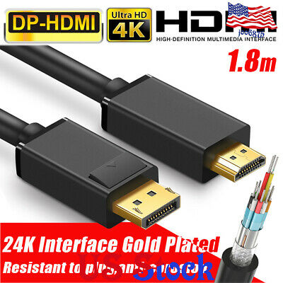 3M 4K Display Port Dp To Hdmi Male Cable For Lcd Pc Laptop Av Cable Adaptor New