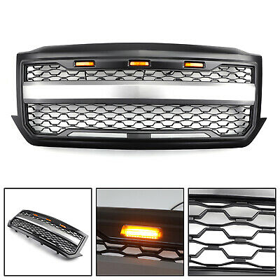 Black Front Grille Grill With Amber Light For 2016-2018 Silverado 1500 Grille U9