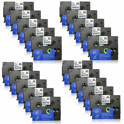 20Pack Black on White Label Tape for Brother TZe231 P-Touch PT-D210 12mm 0.47""