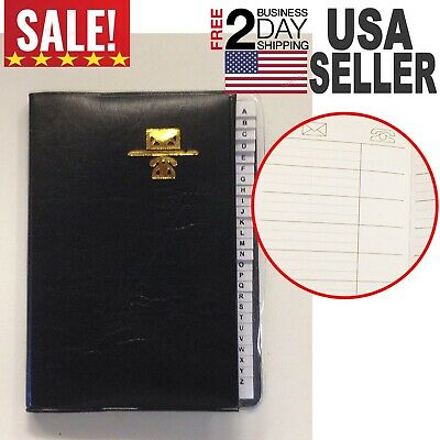 "Address Telephone Book Small 3.25"" x 4"" Black Leatherette Cover NEW"
