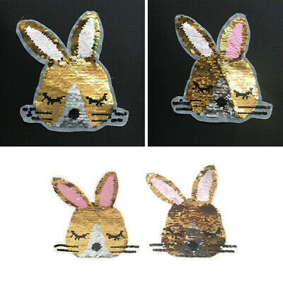 Sequin Rabbit Embroidery Sew Iron On Patch Badge Cloth Applique Bag Fabric DIY