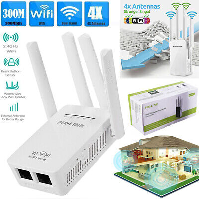 300Mbps Wifi Repeater Wireless AP Router Extender Signal Booster Through Wall UK