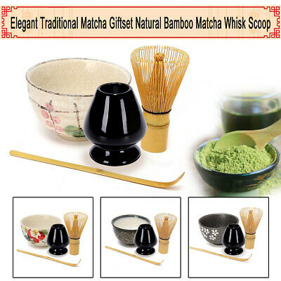 Japanese Ceremony Bamboo Matcha Green Tea Whisk Stand Holde Scoop Bowl Set Gift